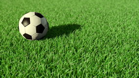 Soccer ball rolling on the grass Stock Photo