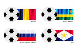 Soccer Ball with Romania, Rwanda, Russia and Saba  Stock Photos