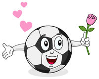 Soccer Ball with Rose Character Stock Photography