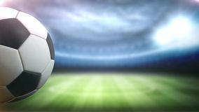 Soccer ball rotates against the stadium background in the left side with space for title, logo or score background 4K vector illustration