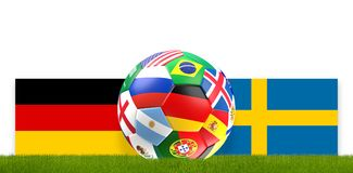 Soccer ball russia flag design with flag of Germany and Sweden 3. D rendering design Royalty Free Stock Photo