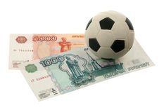 Soccer ball and russian money Royalty Free Stock Photography