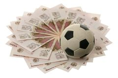 Soccer ball and Russian money Stock Images
