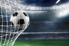 Soccer ball scores a goal on the net. Ball scores a goal on the net in a football match vector illustration
