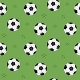 Soccer ball seamless pattern for background, web, style elements. Green background. Hand drawn sketch. Sport vector royalty free illustration