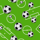 Soccer ball seamless pattern. Sports accessory ornament. Royalty Free Stock Photo