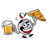 Soccer ball serving beer and pizza Royalty Free Stock Images