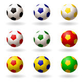 Soccer ball. set of balls different colors for playing football. objects on white background. Vector illustrations Stock Image