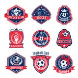 Soccer ball shield badge of football sport club. Soccer ball shield badge of football sport game club. Football winner cup, trophy and ball heraldic badge design Stock Images