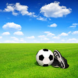 Soccer ball and shoes Stock Photos