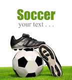 Soccer ball and shoes Stock Photo