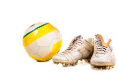 Soccer ball and shoes Stock Image