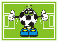 Soccer ball shows the gesture of the class on the football field Royalty Free Stock Image