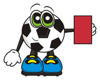 Soccer ball shows a red card Stock Image