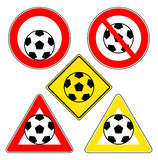Soccer ball signs Stock Photography