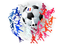 Soccer ball and simple comic silhouettes of football players wit Stock Photo