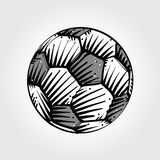 Soccer ball sketch after a game. Soccer ball sketch in black and gray Stock Photo