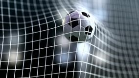 Soccer ball slow motion to the goal. Football  3d rendering Royalty Free Stock Images