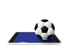 Soccer ball. Soccer ball on smart phone isolate. vector illustration Royalty Free Stock Image