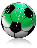 Soccer ball with soccer field Royalty Free Stock Photography