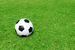 Soccer ball on soccer field Stock Photos