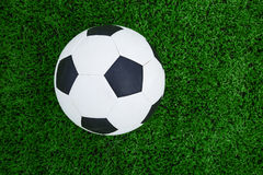 Soccer ball on soccer field Royalty Free Stock Image
