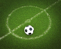 Soccer ball on a soccer field. 3d illustration of a soccer ball on a soccer field Royalty Free Stock Images