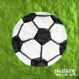 Soccer ball on soccer field, vector illustration. Stock Images