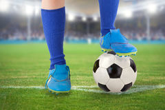 Soccer ball with soccer shoes Royalty Free Stock Image