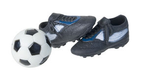 Soccer Ball and Soccer Shoes Stock Photos