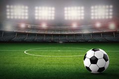 Soccer ball with soccer stadium background. 3d rendering soccer ball with soccer stadium background Royalty Free Stock Photography