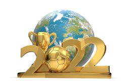 2022 soccer ball soccer trophy with planet earth world 3d-illust. Ration. elements of this image furnished by NASA design Royalty Free Stock Images