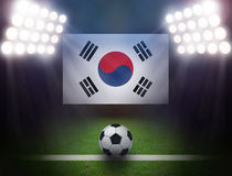 Soccer Ball with South Korea Flag in stadium. Royalty Free Stock Photos