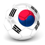 Soccer Ball With South Korean Flag 3D Render Royalty Free Stock Image