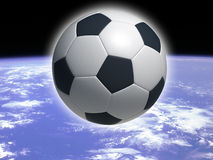 Soccer ball in space. Hi res rendering of soccer ball Royalty Free Stock Photos
