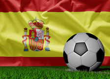 Soccer ball and spain flag Royalty Free Stock Images