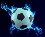 Soccer ball spark with blue thunder Stock Images