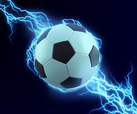 Soccer ball spark with blue thunder. Can be use in extreme sport title or technology related Stock Image