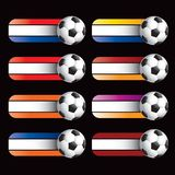 Soccer ball on specialized banners Stock Photography