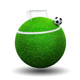 Soccer ball on sphere grass. Surreal soccer concept with goalpost and ball Stock Images