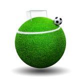 Soccer ball on sphere grass Stock Images