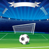 Soccer ball in stadium royalty free stock image