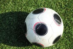 A soccer ball in stadium Royalty Free Stock Images