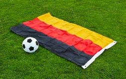 Soccer ball in stadium Royalty Free Stock Image
