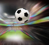Soccer ball in stadium Royalty Free Stock Photography