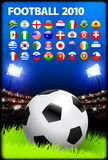 Soccer Ball on Stadium Background with Buttons Stock Photo