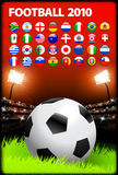Soccer Ball on Stadium Background with Buttons Stock Photography
