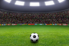 Soccer ball, stadium, light royalty free stock photos