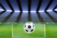 Soccer ball, stadium, spotlights Stock Images