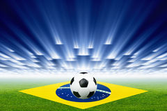 Soccer ball, stadium, spotlights Royalty Free Stock Image